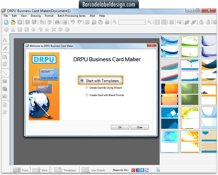 screenshots of business card maker software to know how to